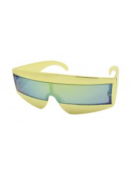 Robo Cop Wrap Around Sport Party Sunglasses, Gold