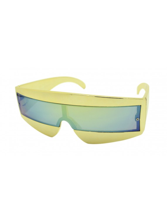 Robo Cop Wrap Around Sport Party Sunglasses, Gold