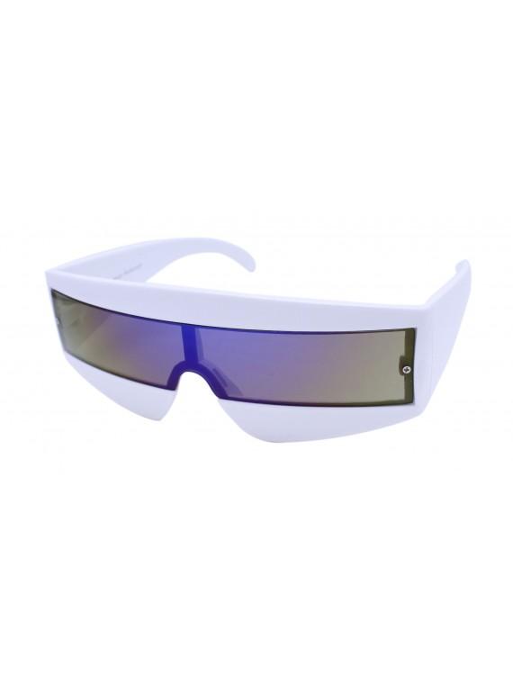 Robo Cop Wrap Around Sport Party Sunglasses, White
