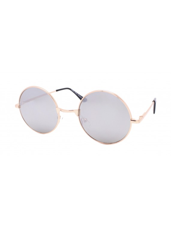 Vichees Round Silver Mirrored Lens/Gold Frame John Lennon Sunglasses