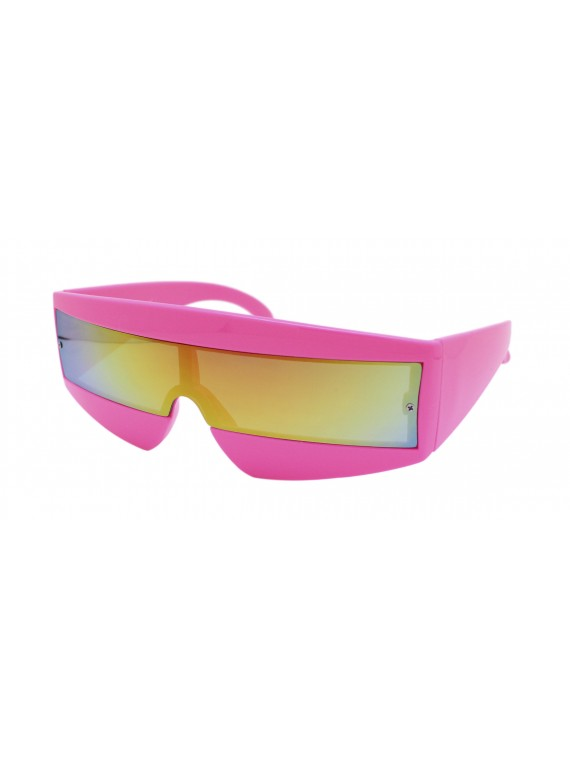 Robo Cop Wrap Around Sport Party Sunglasses, Neon Pink