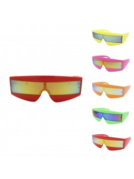 Robo Cop Wrap Around Sport Party Sunglasses, Neon Color Asst