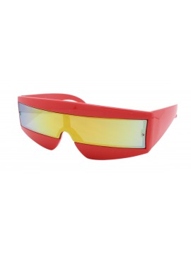 Robo Cop Wrap Around Sport Party Sunglasses, Neon Red