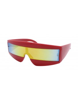 Robo Cop Wrap Around Sport Party Sunglasses, Red