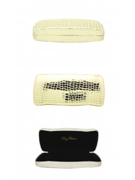 Menro Snake Pattern Sunglasses Case, Light Gold