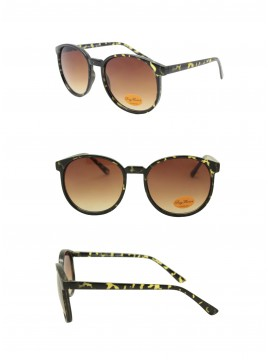Eva Round Medium Size Vintage Sunglasses, Tortoise Shell (New)