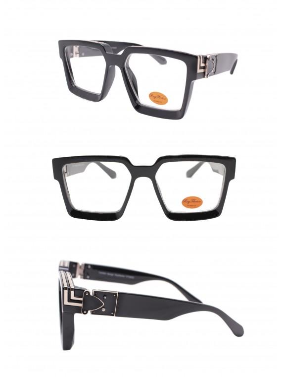 Ladie Square Top Fashion Sunglasses, Black Clear Lens