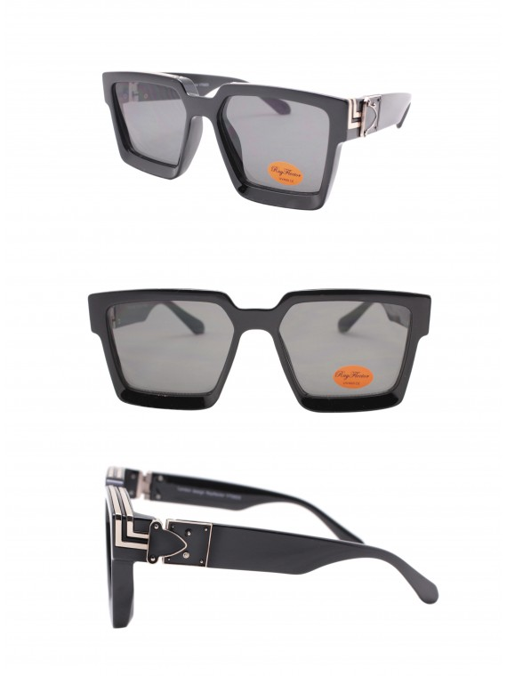 Ladie Square Top Fashion Sunglasses, Black Gold With Smoked Lens