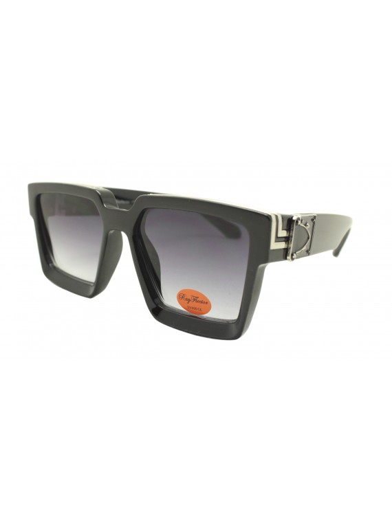 Ladie Square Top Fashion Sunglasses, Black Silver With Smoked Gradient