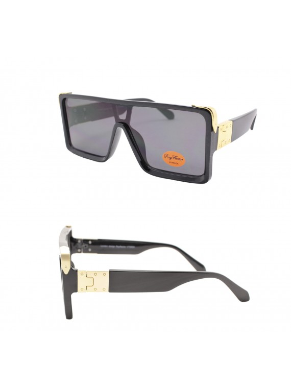 Gieo Flat Top Fashion Sunglasses, Black Gold With Smoked Lens