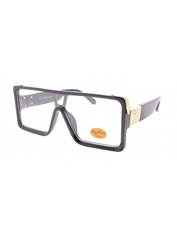 Gieo Flat Top Fashion Sunglasses, Black Clear