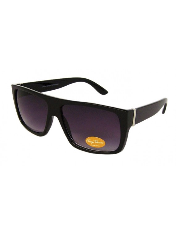 Rocho Flat Top Square Fashion Sunglasses, Shiny Black Gradient Lens