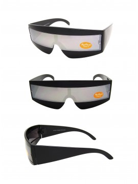 Robo Cop Wrap Style Sunglasses Black/Mirrored Lens