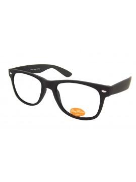 Classic Modern Clear Lens Wayfarer Style Sunglasses, Rubber Matt Black