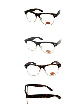 Livia Classic Clubmaster Sunglasses, Clear Lens Asst