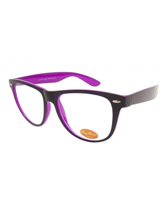 Classic Wayfarer Style Sunglasses, Outer Frame Black Inner Frame Purple Clear Lens - Bigger Size