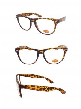 Classic Wayfarer Style Sunglasses, Tortoise Shell Clear Lens