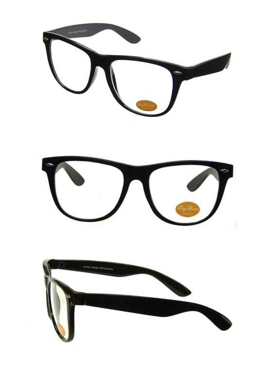 Classic Wayfarer Style Sunglasses, Black Clear Lens