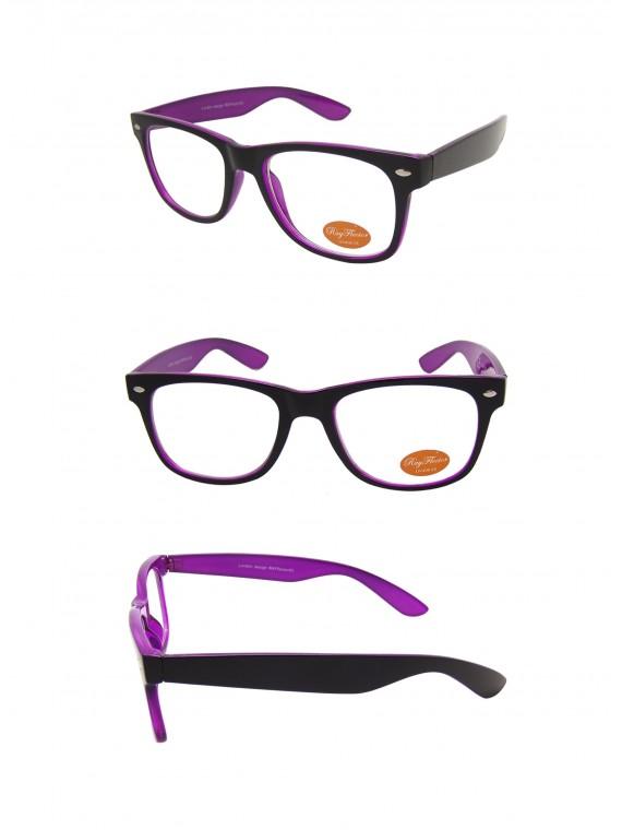 Classic Modern Wayfarer Style Sunglasses, Black Outer Frame Inner Purple Clear Lens
