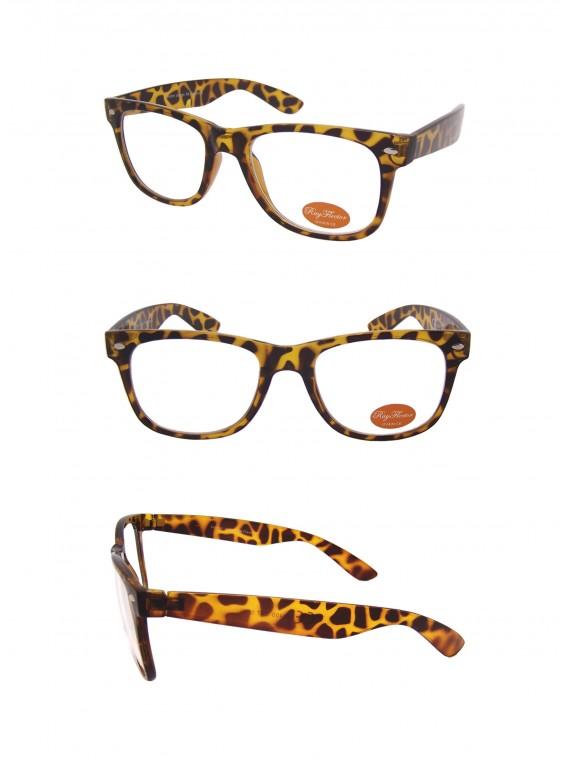 Classic Modern Clear Lens Wayfarer Style Sunglasses, Tortoise Shell