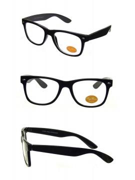Classic Modern Clear Lens Wayfarer Style Sunglasses, Shiny Black
