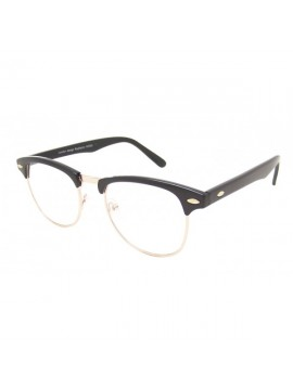 Clubmaster clear lens, black frame with gold colour metal sunglasses.