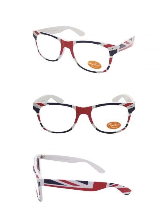 Classic Modern Wayfarer Style Sunglasses, British Flag Frame Clear lens