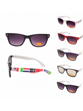 Classic Modern Wayfarer Sunglasses, World Map Arm Asst