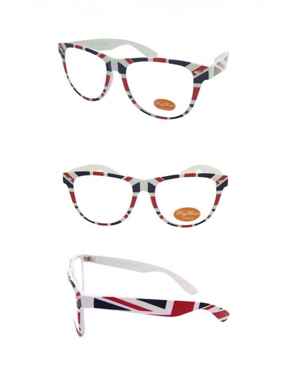 Wayfarer Style Sunglasses, British Flag Frame Clear lens - Bigger Size