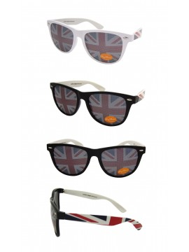 Wayfarer Style Sunglasses, British Flag Lens White And Black Frame Asst - Bigger Size
