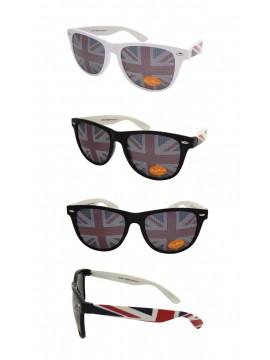 Wayfarer Style Sunglasses, British Flag Lens White And Black Frame Asst - Bigger Size