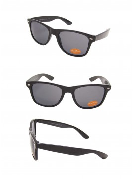 Medium Size Wayfarer Style Sunglasses, Shiny Black(Whole Black Lens)