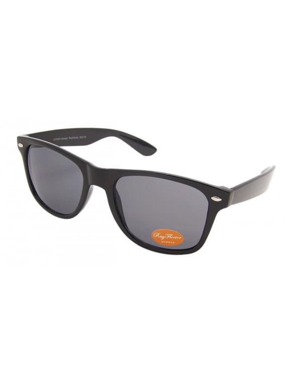 Medium Size Wayfarer Style Sunglasses, Shiny Black(Whole Black Lens)