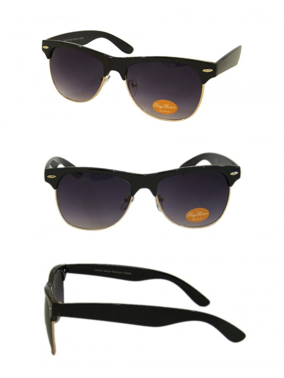 Classic Modern Clubmaster Sunglasses,  Black/Gold Metal