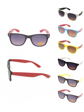 Classic Modern Wayfarer Style Sunglasses, Colorful Arms Sunglasses Asst