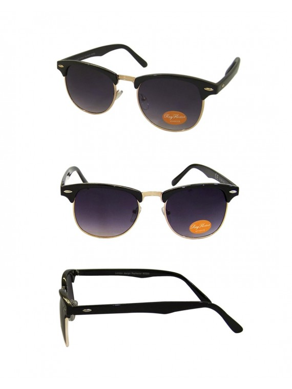 Classic Clubmaster Sunglasses, Black/Gold Metal