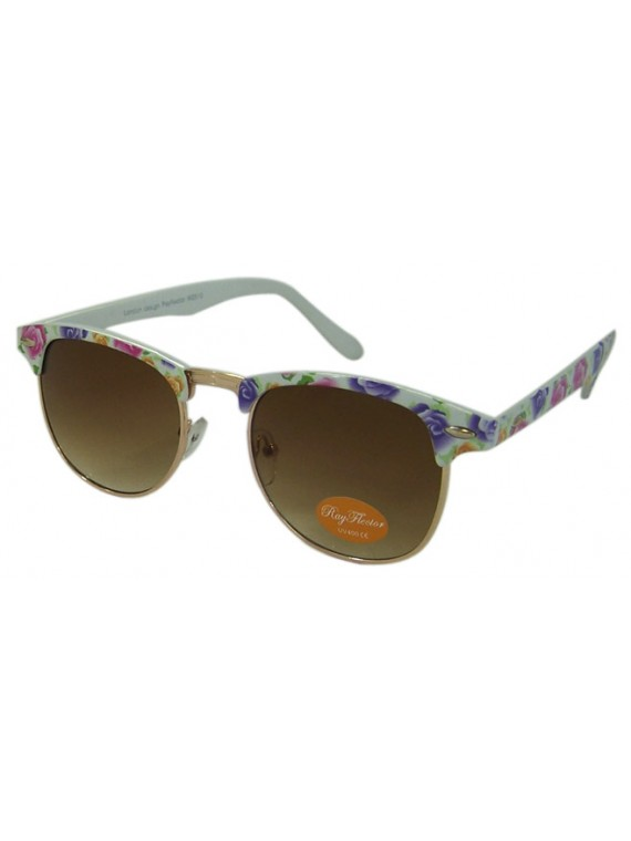 Classic Clubmaster Style Sunglasses, Flower Printed Asst