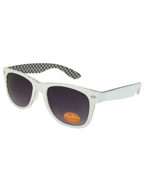 Classic Modern Wayfarer Style Sunglasses, Inner Frame Checkered Asst