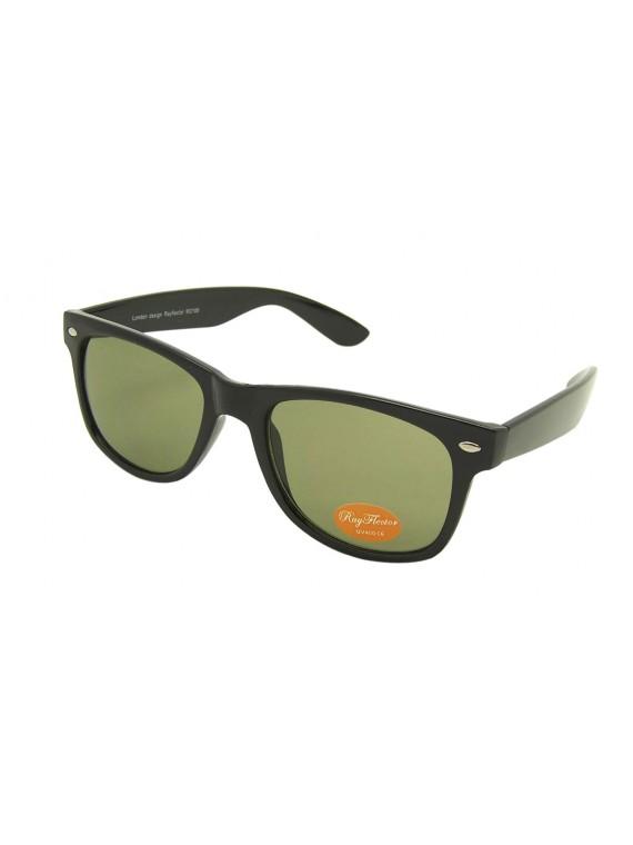 Classic Modern Wayfarer Style Sunglasses, Shiny Black/Green Lens
