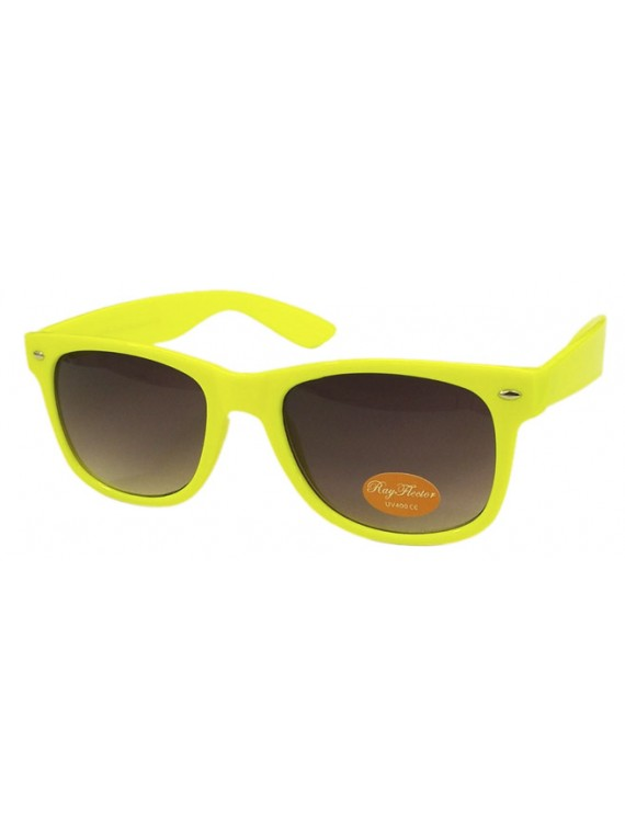 Classic Modern Wayfarer Style Sunglasses,  Neon Yellow
