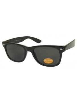Classic Modern Wayfarer Style Sunglasses, Shiny Whole Black