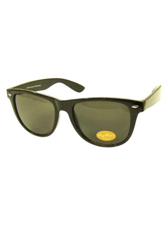 Classic Wayfarer Sunglasses, Shiny Black(Whole Black Lens) - Bigger Size