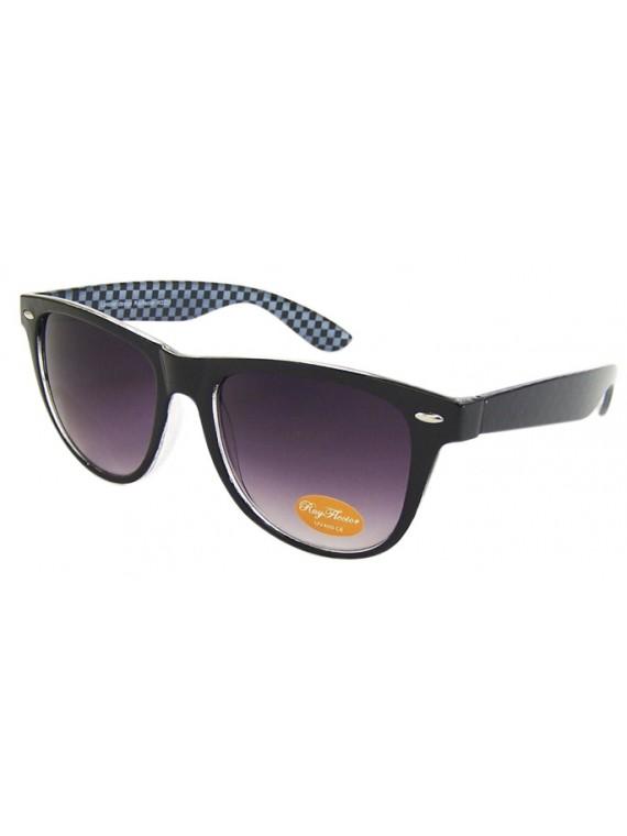 Classic Wayfarer Style Sunglasses, Black Inner Frame Checkered - Bigger Size