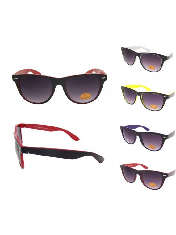 Classic Wayfarer Style Sunglasses, Two Tones Black Solid Colours Asst