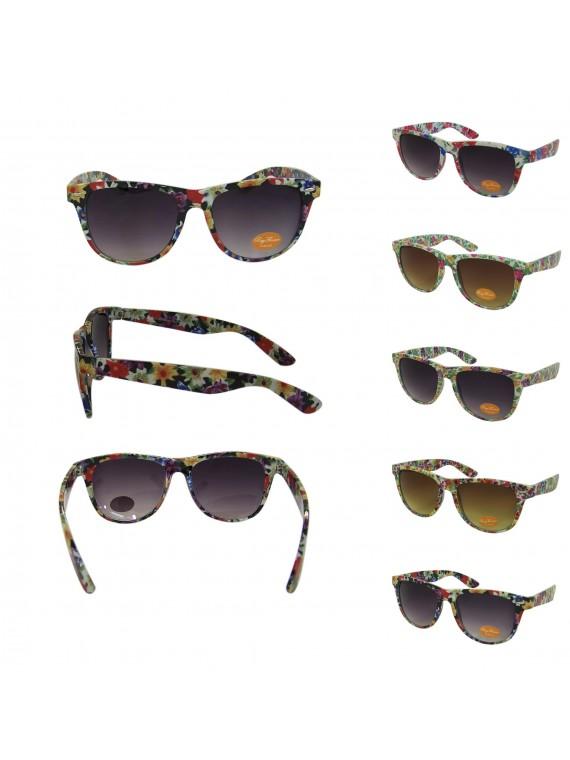 Classic Wayfarer Style Sunglasses, Flower Patterned Frame Asst