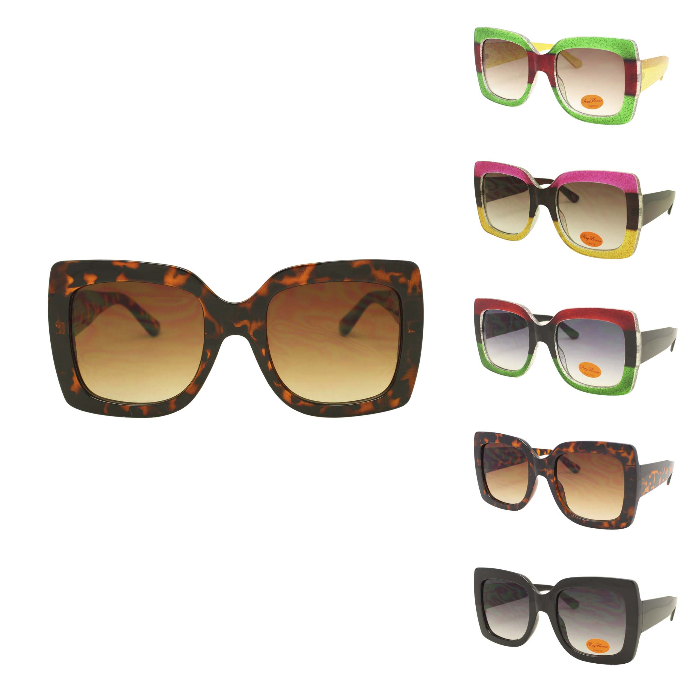 a2371aac6c6e Lex Colorful Lens Oversized Fashion Sunglasses
